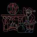 14' x 16' Animated Waving Santa beside Fireplace