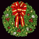 Mountain Pine Wreath with Red & Gold Balls - Mini LED Lights