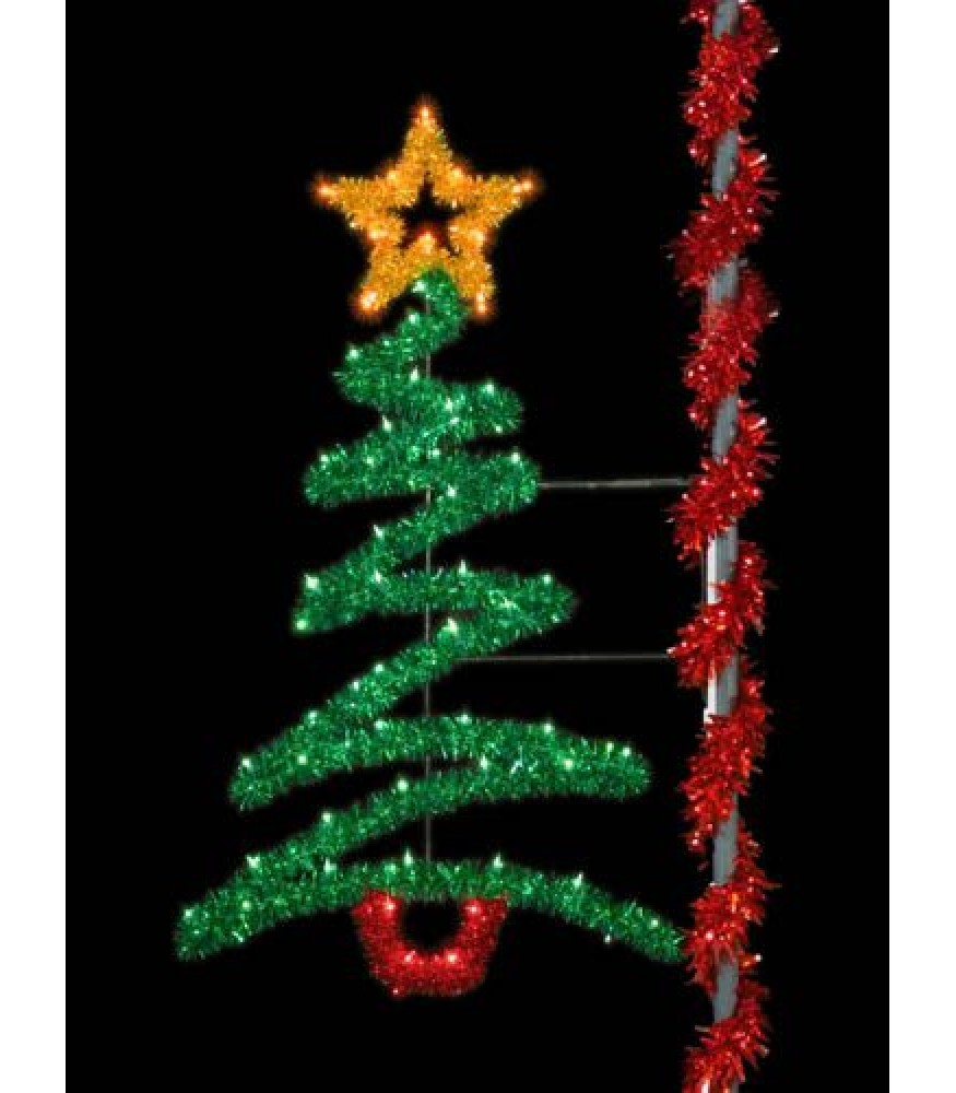 8' Sparkling Zig-Zag Tree Pole Display