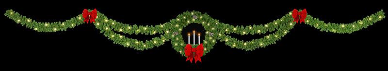 40' Double Drape - Triple Candle Wreath Streetline