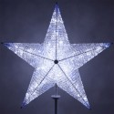 Shimmering LED Crystal 5 Point Star Tree Topper - Blue and White