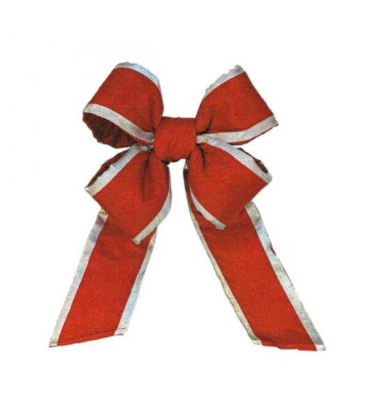 Old Glory Red Silver Trim Nylon Bow