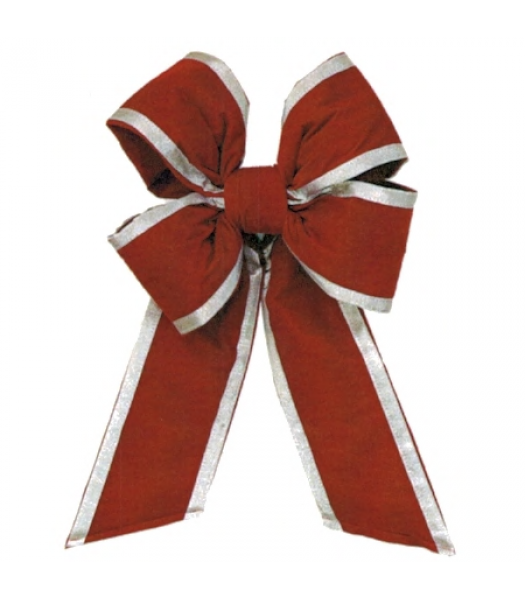 Holiday Red Silver Trim Velvet Bow