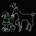 8' x 10' Animated Elf Feeding Deer